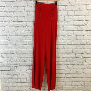Strapless Double Breasted Button Red Jumpsuit NWT